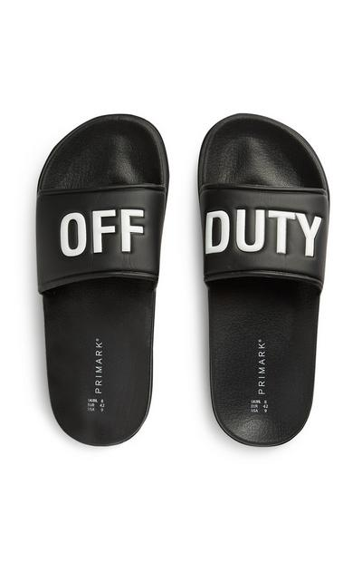 Chanclas de piscina negras con eslogan «Off Duty»