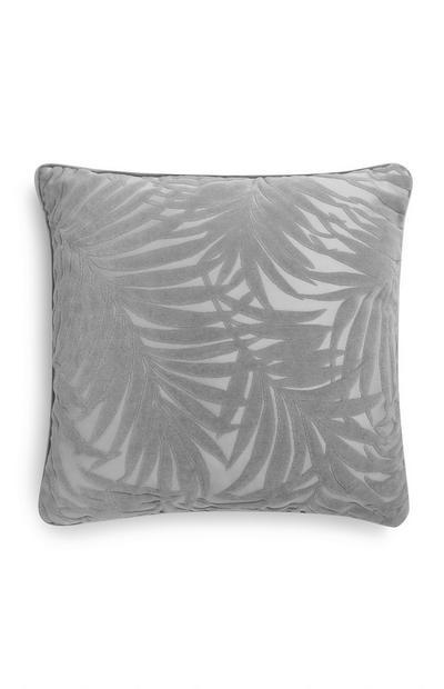 Grey Velvet Leaf Pillow
