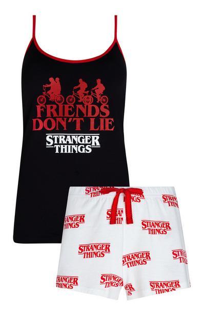 Ensemble de pyjama Stranger Things avec caraco noir et short blanc