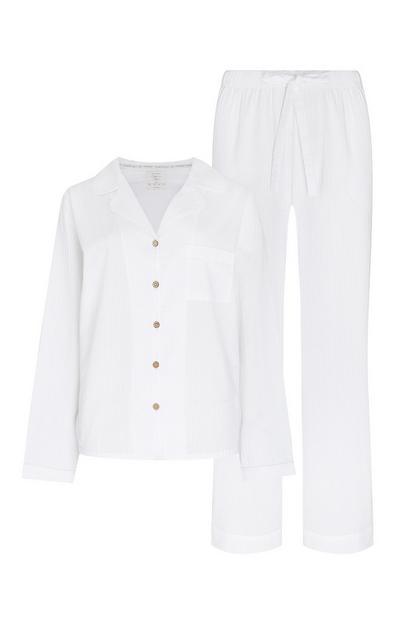 Witte pyjamaset van biologisch katoen met knoopjes