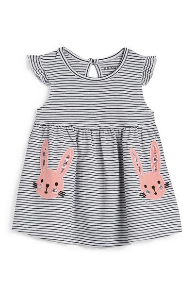 Baby Girl White And Navy Striped Rabbit Dress