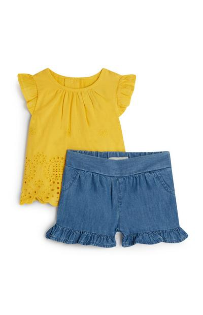 Baby Girl Yellow Frill Shirt And Shorts