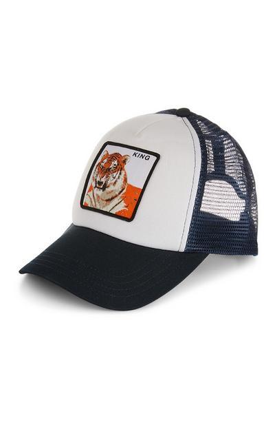 Donkerblauwe truckerpet met tijger