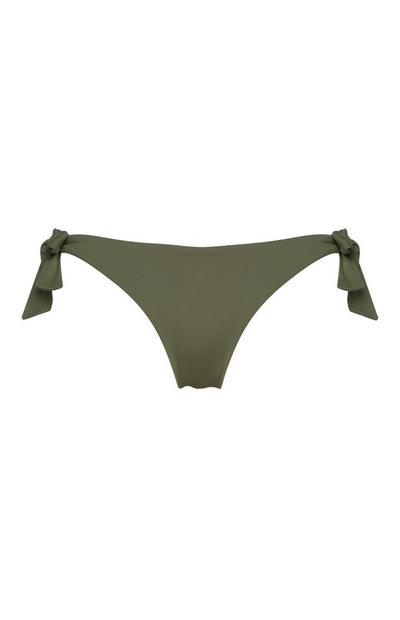 Olive Side Tie Bikini Briefs
