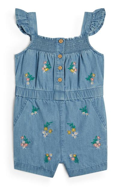 Baby Girl Denim Floral Embroidered Playsuit