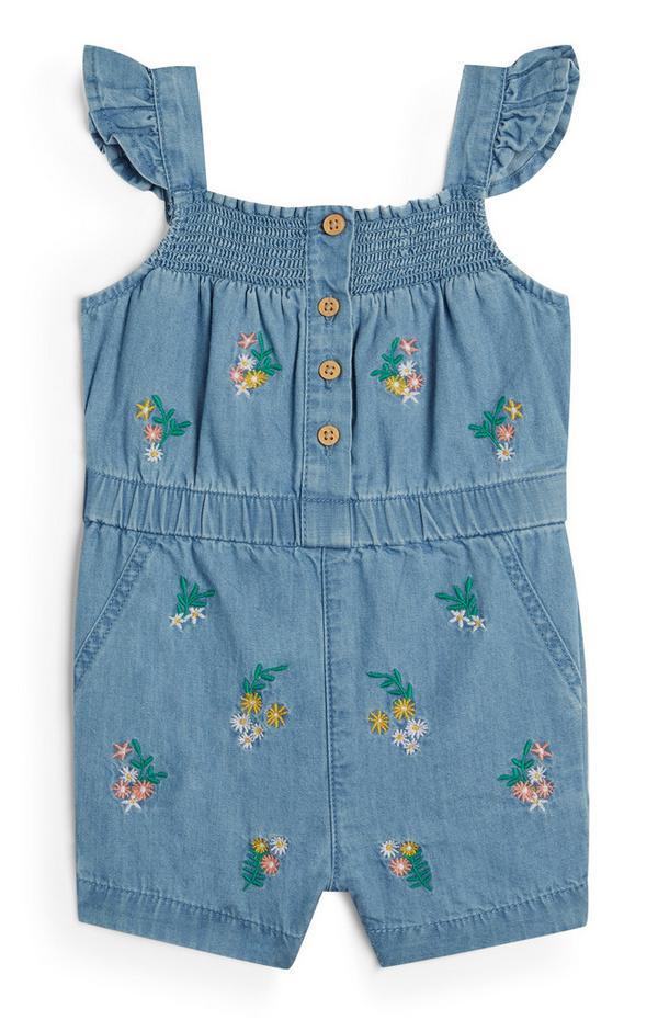 Combi-short en jean à fleurs et volants bébé fille