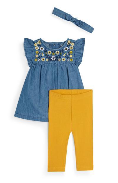 3-teiliges Set mit Jeans-Tunika, Haarband und gelber Leggings für Babys (M)