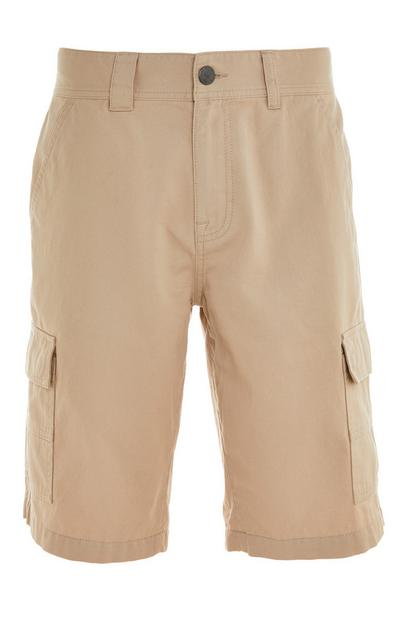 Beige Cargo Pocket Shorts