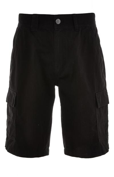 Black Cargo Pocket Shorts