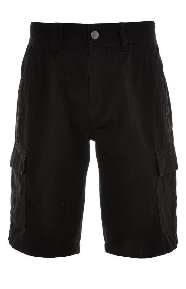 Pantalón corto cargo negro con bolsillos