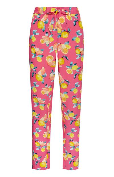 Pink Lemon Print Pajama Pants