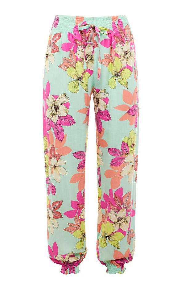 Bunte Viskose-Pyjamaleggings mit Blumenmuster