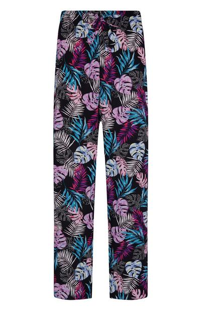 Black Leaf Print Viscose Wide Leg Pyjama Trousers