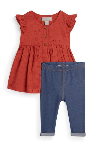 Baby Girl Red Broiderie Blouse And Jeggings Set