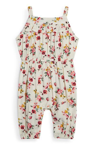 Elfenbeinfarbener Viskose-Jumpsuit mit Blumenmuster für Babys (M)