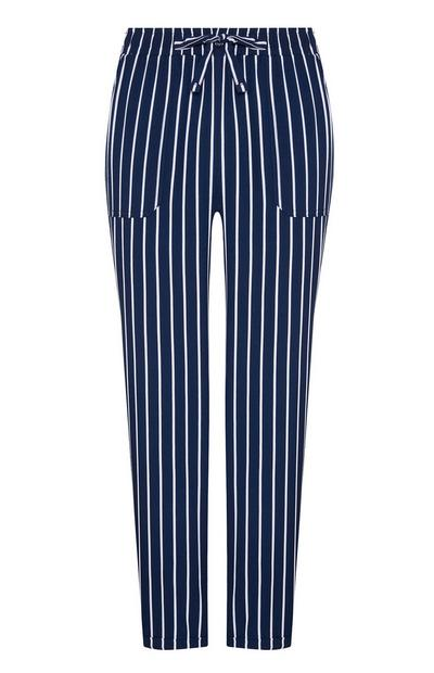 Navy Stripe Viscose Joggers