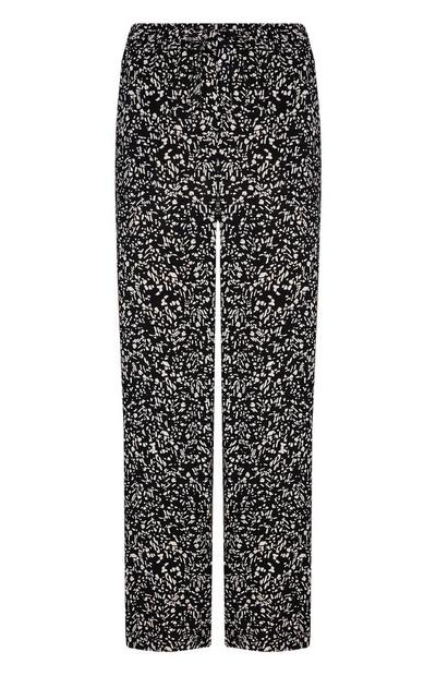Black And White Viscose Patterned Loose Trousers