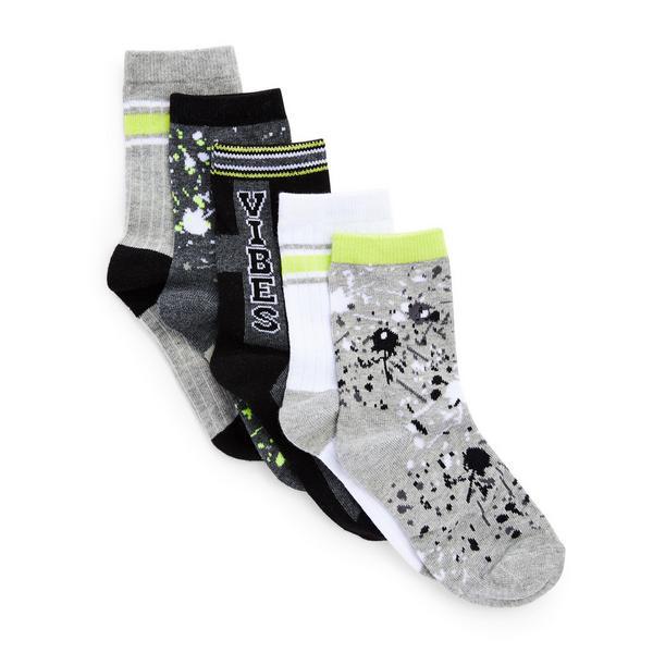Socken mit Farbspritzern für Jungen, 5er-Pack
