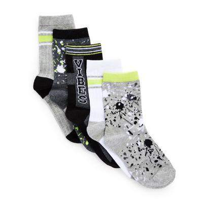 Črne in kaki nogavice, 5 parov
