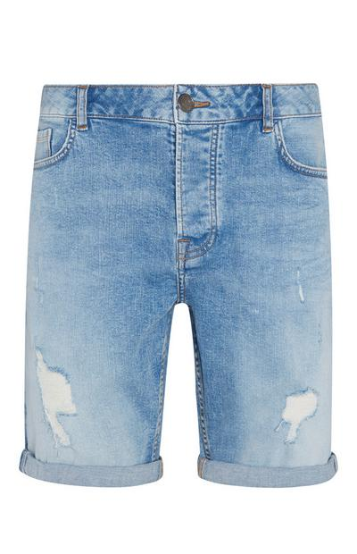 Short slim en denim déchiré