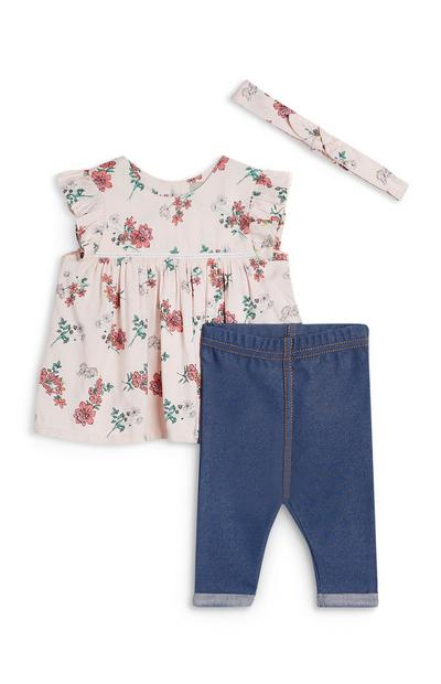 3-Piece Baby Girl Floral Blouse And Denim Leggings Set