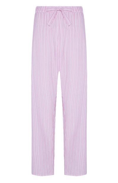Pantalon de pyjama rose à rayures