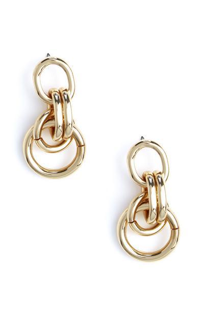 Pendants d'oreilles dorés en chaîne