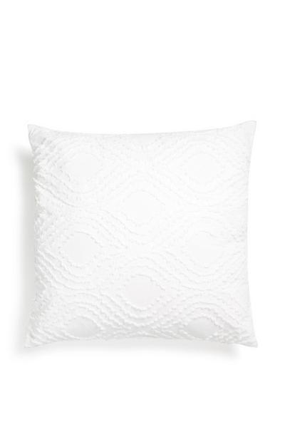 Coussin blanc texturé