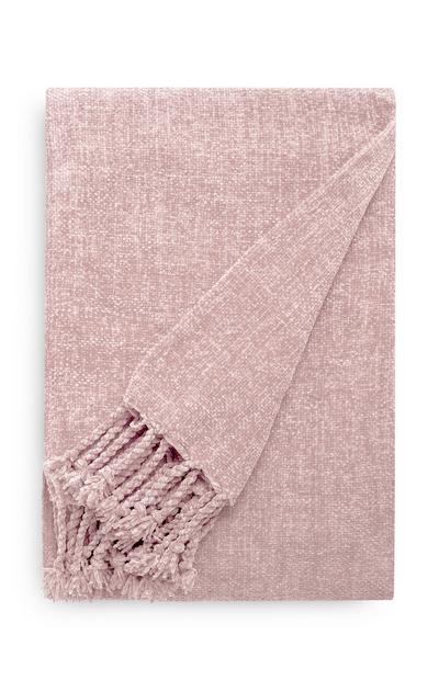 Light Gray Chenille Tassel Throw