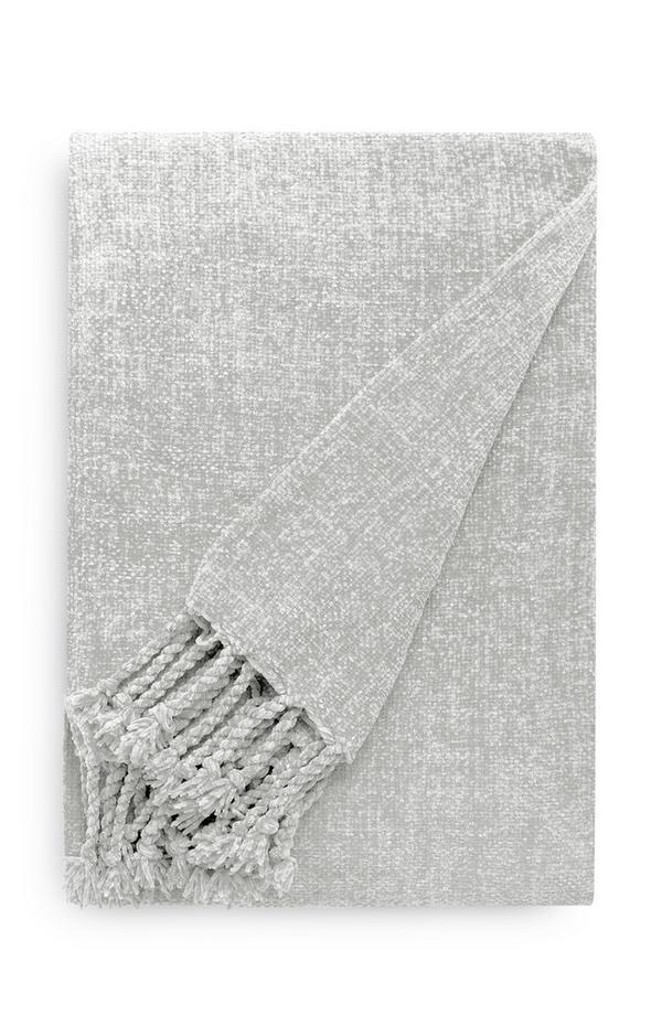 Plaid grigio chiaro in ciniglia con nappine
