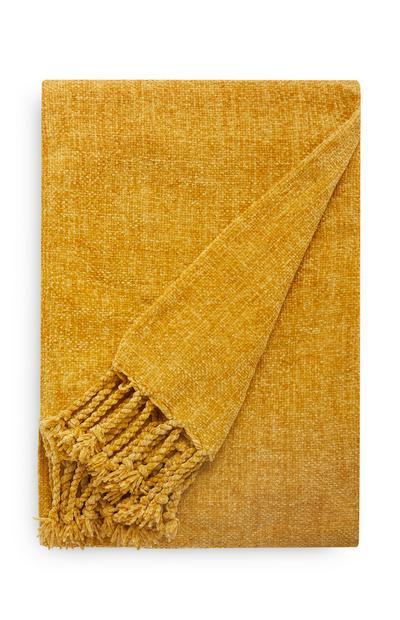 Manta de chenilla color mostaza