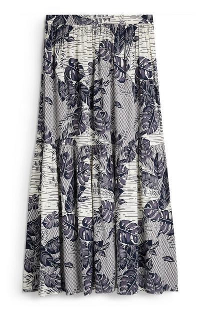 Navy Leaf Print Tiered Midi Skirt