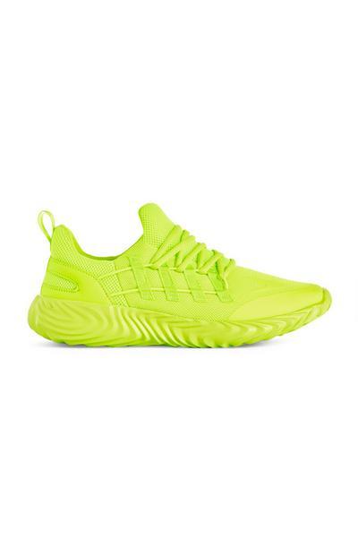 Neongroene gebreide sneakers