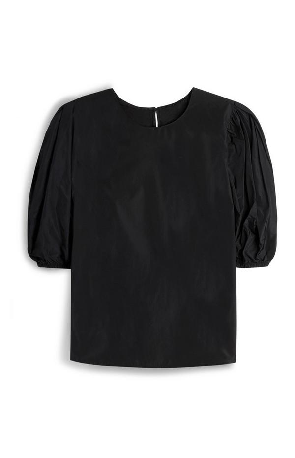 Black Taffetta Puff Sleeve Blouse