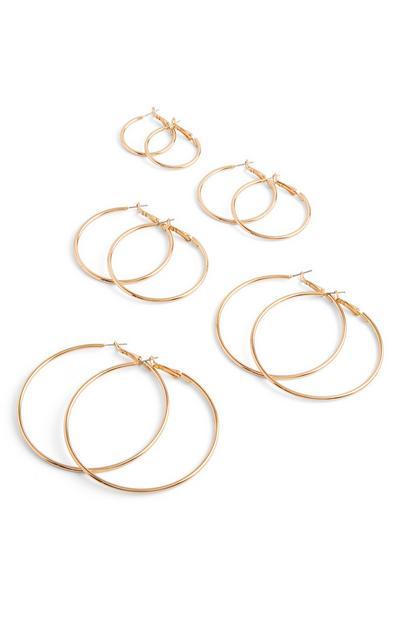 Zlati cevasti obročasti uhani, 5 parov