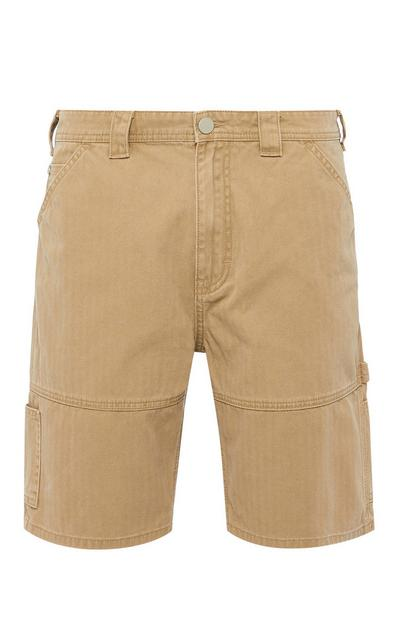 Sprane kratke hlače bež barve z žepi