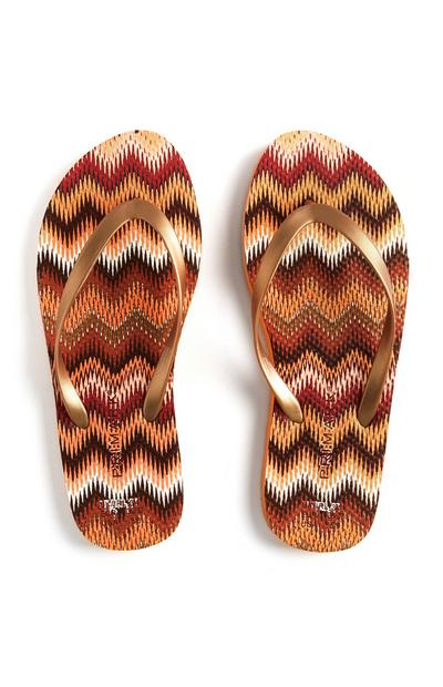Orange Zigzag Flip Flops