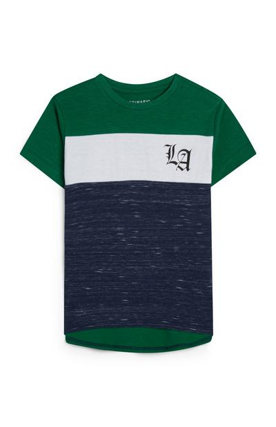 T-shirt verde cut and sew LA da bambino