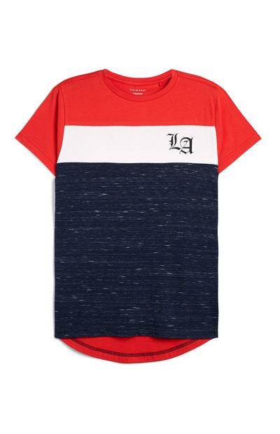Older Boy Red And Navy Cut And Sew LA T-Shirt