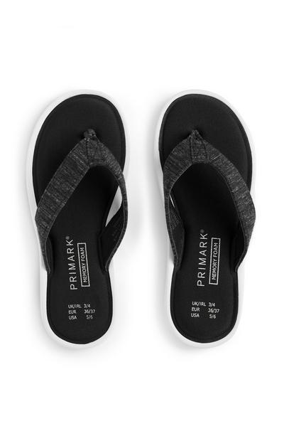 Black Memory Foam Flip Flops