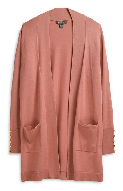 Peach Loose Cardigan With Pockets