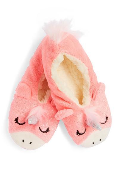 Roze voetjes met eenhoorn