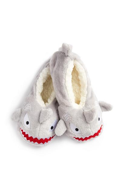 Gray Shark Slipper Socks