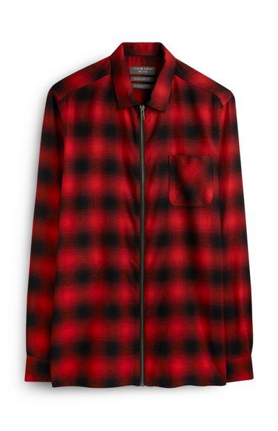 Red Plaid Zip Jacket