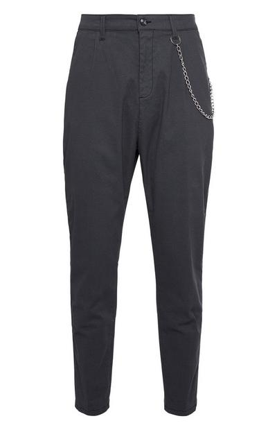 Black Side Chain Tapered Trousers