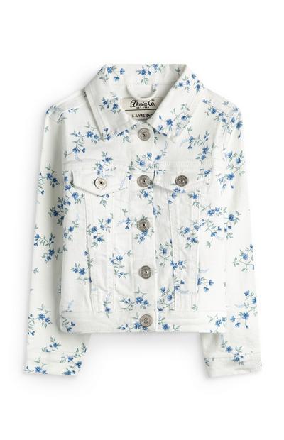 Younger Girl White Floral Denim Jacket