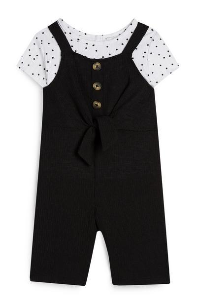 Mono negro con camiseta de lunares para bebé niña