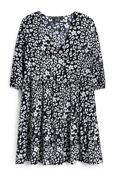 Black And White Floral Tiered Dress