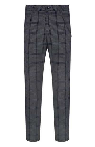 Dark Grey Check Tapered Trousers