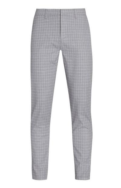 Pantalon slim gris clair à carreaux